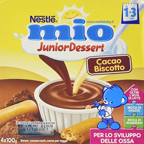 Nestlé Mio - Merenda al Latte Cacao e Biscotto, da 1 Anno - 3 confezioni da 4 Vasetti di plastica da 100 g [12 vasetti, 1200 g]