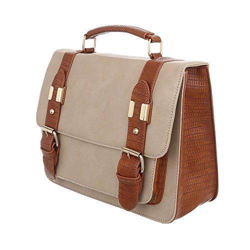 A151 Mittelgroße Beige Braun Schultertasche Kunstleder Handtasche Damentasche dEsiGn Optik Used iTal TA vEgzwtq