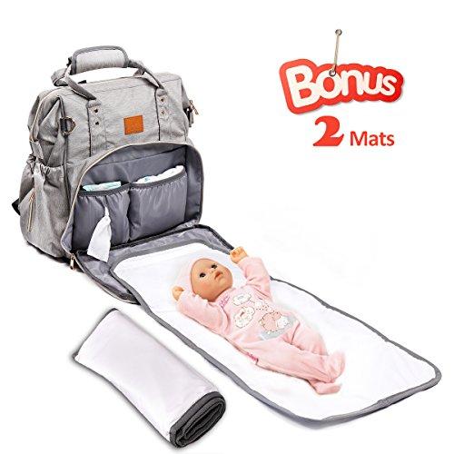 Baby wickeltasche with 2 Pads Wechseln, Apicallife Unisex Wickeltasche Groß mit Integriertem USB-Anschluss Perfekt für Reisen, Grau