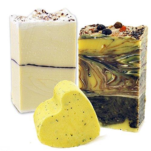 Ylang Ylang Jasmin – Bergamote et patchouli – Artisan savons naturels – Traitement Gommage au sucre Heart-gift Lot.