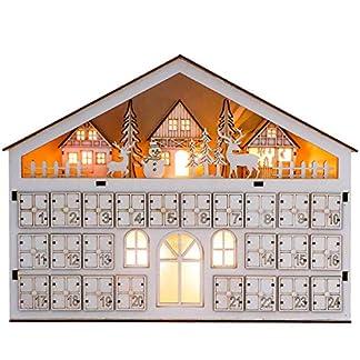 Valery Madelyn Calendario de Adviento de Navidad, 46cm Decoración de Navidad de Cuenta Atrás para Navidad, Adornos de Navidad de Cascanueces de Madera, 24 días (Bosque)