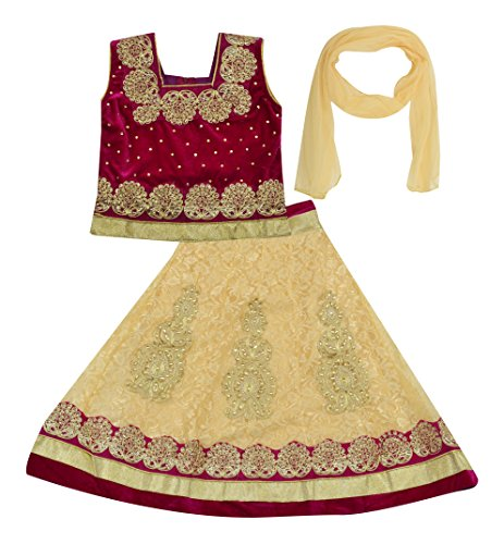 Kid's Stop Girls' Synthetic Lehenga Choli (kist_pinkvelvetlehenga-1--3-4 Years, Pink and Beige, 3-4 Years)