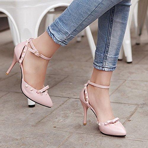 Damen Niete Stiletto Sandale Aisun süß Zehe Pink Schleife Knöchelriemchen Spitz Geschlossen Tdw4Yq