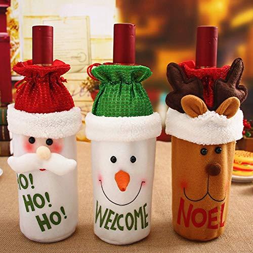 3 Pezzi Coperchio Della Bottiglia di Vino di Natale Decorazione Natalizia Sacchetto Regalo Vino Abito da Bottiglia di Vino Decorazioni per La Casa