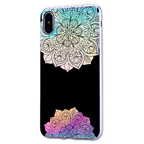 GrandEver iPhone X Glitzer Hülle Silikon Handyhülle Gel TPU Bumper Bunt Mandala Schutzhülle Schwarz Handytasche Anti-Kratzer Rückschale Ultra Dünnen Soft Case Cover - B D
