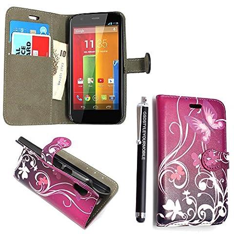 KAMAL STAR® Motorola Phones Handsets Premium PU Leather Card Magnetic Flip Case Cover + Stylus (Moto G2 2nd Gen Generation, Purple Butterfly