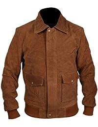 F&H Mens Genuine Cowhide Leather American Ultra Jesse Eisenberg Mike Howell Jacket