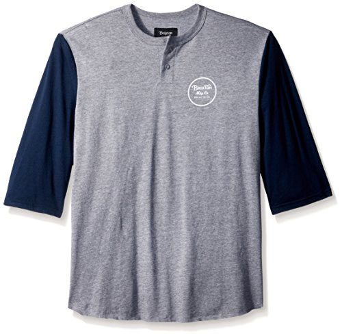Brixton Herren Wheeler 3/4 Sleeve Tee Henley Shirt, Grau (Heather Grey)/Marineblau, Klein -