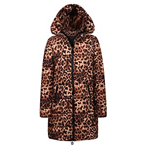 TianWlio Jacken Damen Winter Lange Daunenjacke mit Kapuze Outwear Baumwolle Leopard Drucken Parka Mäntel Herbst Winter Warme Jacken Strickjacken Kaffee S/M/L/XL/XXL/XXXL