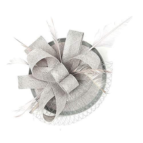 Sinamay Fascinator mit großer Schleife mit Federn und Netz, rund, für Hochzeiten, Abschlussball - Silber -