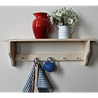 Solid pine shelf with a rail of Shakers pegs for mugs, jewellery...Natural finish, 3, 4, 5 or 6 pegs