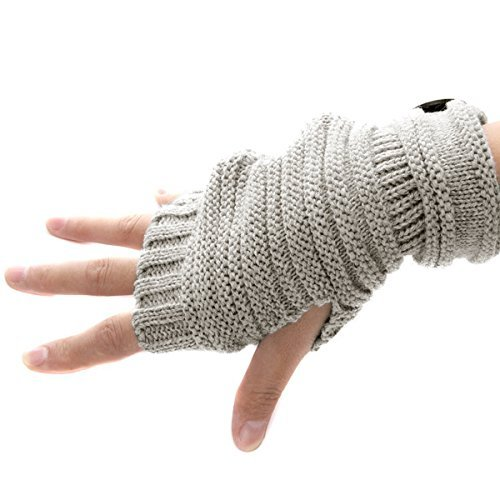 Butterme Unisex Winter Gestrickte Fingerlose Armstulpen Warm Strick Handschuhe Pulswärmer Handstulpen Armwärmer Stulpen für Damen Herren tiefen Licht Grau