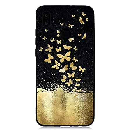 Weich Sparkle Bling Glitter Gel für Huawei P Smart/Enjoy 7s,Gomma TPU Silikon Durchsichtiges Klar Transparent Bunte Flower Cartoon Ultra Dünn Slim Kreative icht Flexible Hülle Tasche