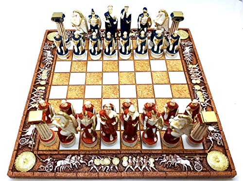 greekartshop Schach-Set und 32 Teile Griechische römische Götter Krieger Statue Figur Handgefertigt (Krieger-statue-figur)