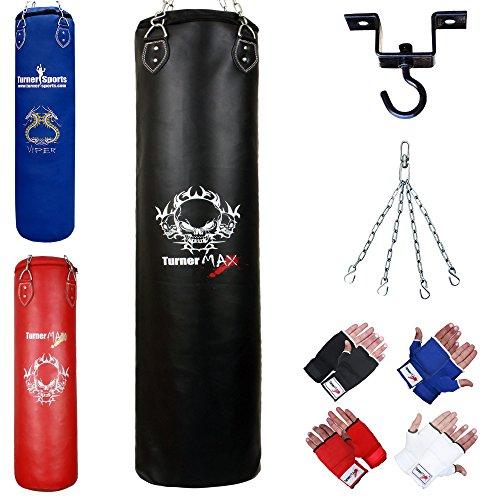 TurnerMAX Pro Ensemble Kick Boxing Sac de Frappe rempli Boxing Bag Gants Crochets de Plafond pivotant chaîne MMA Sac de Frappe Rouge 3ft 4ft 5Ft, Schwarz - Schwarz