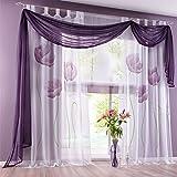 Hoomall Décoration de Chambre Voilage Rideau Intérieur de Fenêtre Rideau Imprimé Fleur Violet 150cm*245cm une Pièce