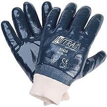 1007 12 Paar Arbeitshandschuhe blau vollbeschichtet Nitril Baumwolle mit Stulpe
