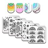 BORN PRETTY 5Pcs Nail Art Stamping Plaques Set Série de Mandala de printemps Fleur Floral Manucure Imprimer des modèles d'image