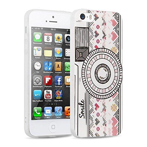 iPhone 5 Hülle, JAMMYLIZARD Transparentes Sketch Back Cover aus Silikon mit Muster für iPhone 5 / 5s & SE, TINKERBELL FOTOAPPARAT