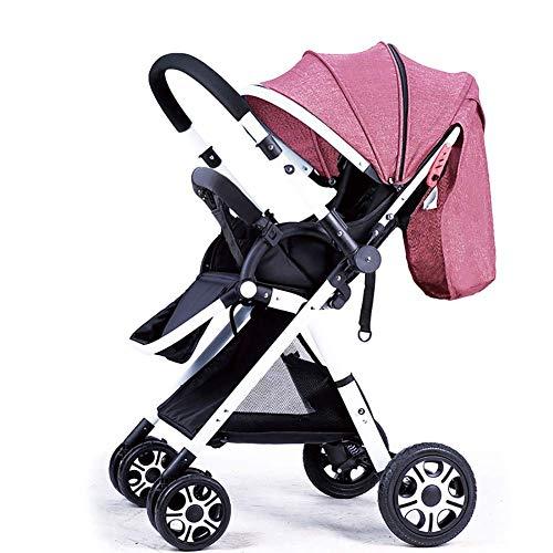 Maniglia passeggino per paesaggio alta maniglia bambini reversibili passeggino può sedersi e sdraiarsi pieghevole portatile pieghevole per bambini carrello telaio bianco (colore: rosa lino)