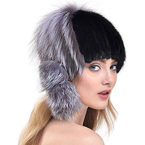 Bellefur chicas de piel de visón genuina de punto de sombrero para el invierno elegante con el pompón Fox