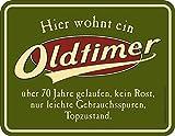 Original RAHMENLOS® Blechschild zum 70. Geburtstag: Oldtimer, 70 Jahre gelaufen, Topzustand.