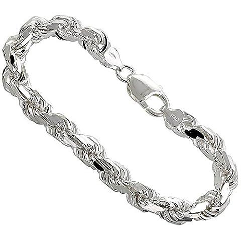 Sterling Silver hand made Italian Diamond Cut Rope Chain 7mm Nickel Free, size 23 CM Bracelet