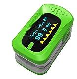 Aozzy PulsiOxímetro de Dedo y Monitor de Frecuencia Cardíaca con Pantalla OLED, Función de Auto-Apagado para Adultos, Niños, Bebés y Uso Pediátrico, Verde, Aprobado por la FDA