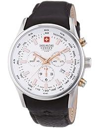 Swiss Military Hanowa 06-4156.04.001.09 - Reloj analógico de cuarzo para hombre, correa de cuero color marrón (cronómetro)