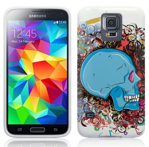 Samsung Galaxy S5 Hülle Silikonhülle (TPU) Case Cover - Cooles blaues Totenkopf Skull Design Muster - Weiß und Rot, Lila, Pink, Rosa, Blau und Grün