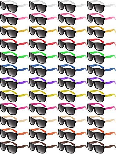 48 Stücke Neon Farbe Sonnenbrille 80s Party Sonnenbrille Retro Sonnenbrille Strand Schwimmbad Party Sonnenbrille für Abschlussfeier Party Mardi Gras Ferien