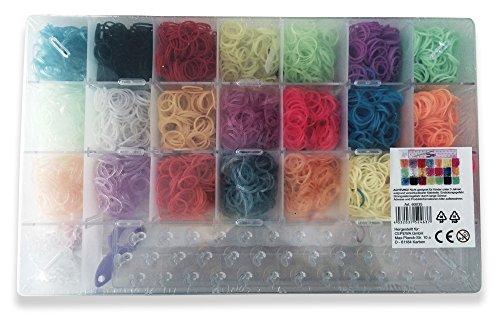 Loom Bands XXL Kit, 3059 teilig, 3000 Loom Bänder bunt, Neon, Glitzer, mit Häkelnadel, Finger Mini Webrahmen und großer Webstuhl für perfekte Ergebnisse, Loom Bands, Loom Bänder, Loom Armbän