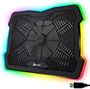 KLIM Ultimate + RGB Laptop Cooling Pad with LED Rim + Gaming Laptop Cooler + USB Powered Fan + Very Stable and
