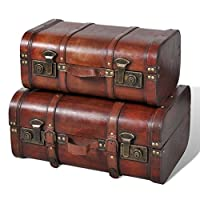 vidaXL 2x Wooden Treasure Chest Vintage Brown Storage Box Ottomans Trunk Bench