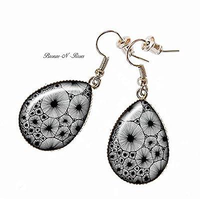 Boucles d'oreilles gouttes « Éclosion » bijou cabochon métal argenté dandelion verre