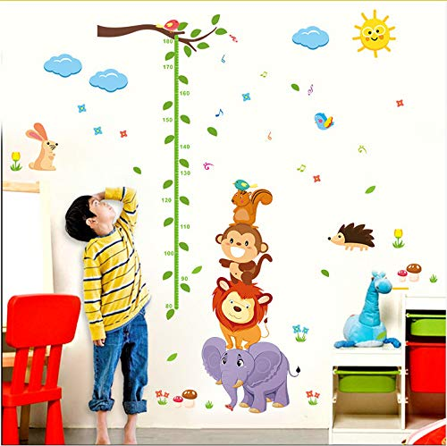 Yangll Cute Elephant Lion Monkey Bird Growth Chart Wall Stickers For Kids Rooms Cartoon Animals Height Measure Decals Pvc Wallpaper