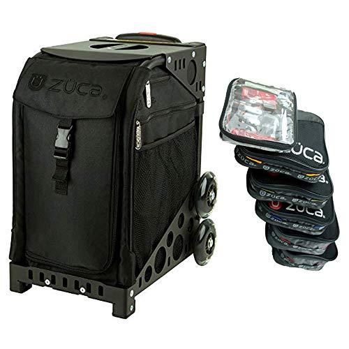 ZUCA Stealth Black Sport-Einsatz mit Pro Packtasche Set mit 5 großen und 1 kleinen stapelbaren Utensilientaschen (Sportrahmen separat erhältlich)