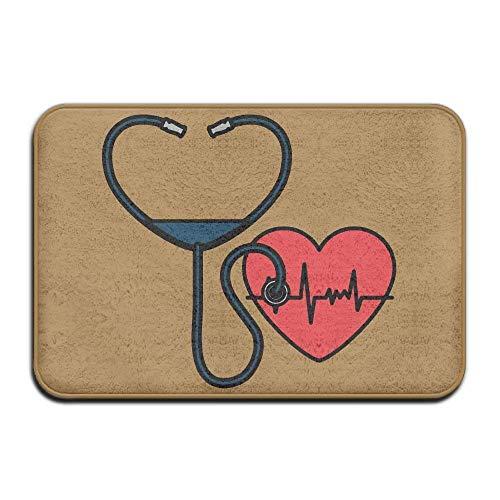 """goodsale2019 Herz Kardiologie mit Stethoskop Rutschfeste Außen/Innen Fußmatte Teppich für Gesundheit und Wellness Küche Bad Fußmatte 23,6""""x 15,7"""""""