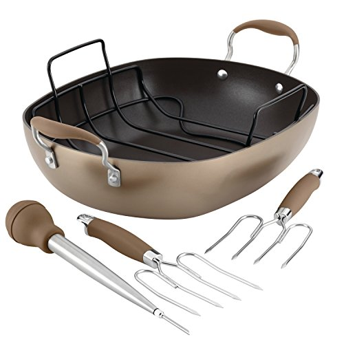 Anolon Advanced Hard-Anodized Nonstick Roaster Set, 16-Inch x 13-Inch Oval, Bronze Bronze Oval Pan