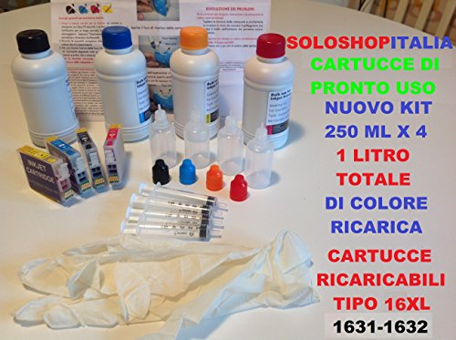 CARTUCCE RICARICABILI + 1000 ml per WF2010, WF2510, WF2510WF, WF2520NF, WF2520, WF2530WF, WF2540WF, WF2630, WF2630WF, WF2650, WF2650WF, WF2660, WF2660WF WORCFORCE + Tanichette ricaricarica + aghi +siringhe + istruzioni