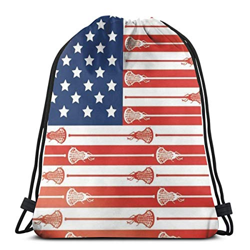 Bag hat Usa Lacrosse Sticks Flag 3D Print Drawstring Backpack Rucksack Shoulder Gym for Adult 16.9