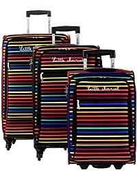 Lot 3 valises dont 1 Valise Cabine - 4 roulettes - Poignée télescopique - Fermeture éclair