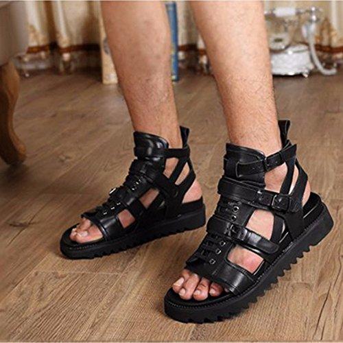 sandali degli uomini di estate, cuoio, di tendenza britannica, alti degli uomini, spesse suole dei sandali, il nero, US7 / EU39 / UK6 / CN39 US9.5/EU42/UK8.5/CN43