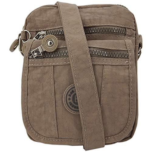 ekavale ® kleine Umhängetasche Damentasche aus hochwertigem wasserabwesendem Nylon Schultertasche (Stone)