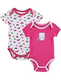 QHGstore 2pcs / set linda bebé de la impresión ropa de manga corta para bebés Onesies infantil ropa de la subida 0-3 meses