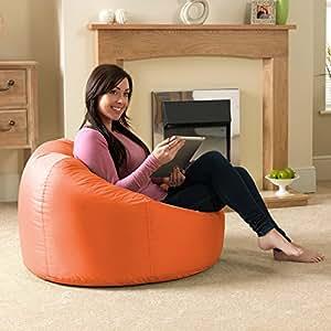 Bean Bag Bazaar® chaise pouf poire lambrissée XL pour l'intérieur/ l'extérieur ORANGE- pouf poire grand