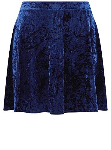 oodji Ultra Donna Gonna in Velluto con Pieghe Morbide Blu (7500N)