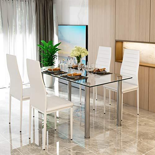 Juego de mesa de comedor de cristal y 4 sillas de comedor de espuma gruesa de imitación de cuero en blanco con patas cromadas, juego de muebles rectangulares para comedor de 120 x 70 x 75 cm.