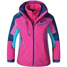 XLHGG Chaquetas de otoño e invierno niños 3 en 1 dos piezas desmontable anti-píldora paño grueso y suave viento montañero Venture chaqueta esquí chaqueta beisbolera , 1# , 150