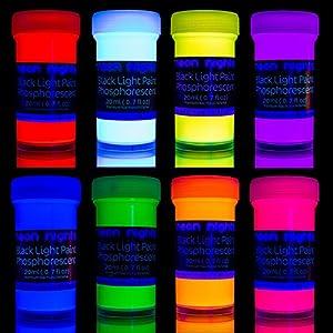 neon nights nachleuchtende Neon Farben | Phosphoreszierende Wandfarbe für Glow Effekt im Dunkeln | 8 x 20ml Leuchtfarben Paint Set